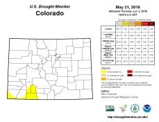 Colorado Drought Monitor May 31, 2016.
