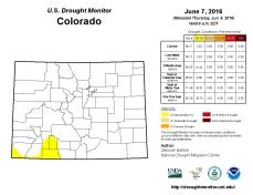 Colorado Drought Monitor June 7, 2016.