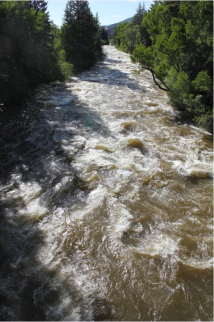 The Eagle River roils with spring runoff in June 2011 near Edwards, Colo. Photo/Allen Best