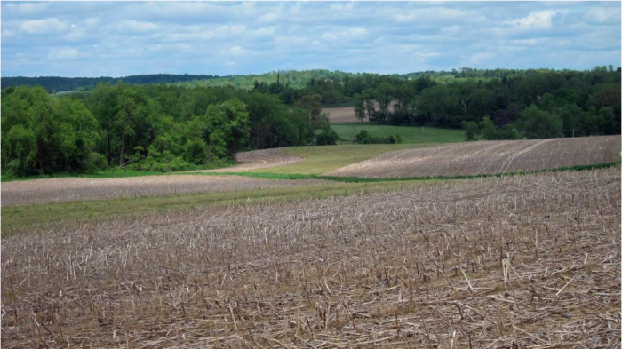 A harvested field in the Upper Mississippi River Basin. Credit: USGS.