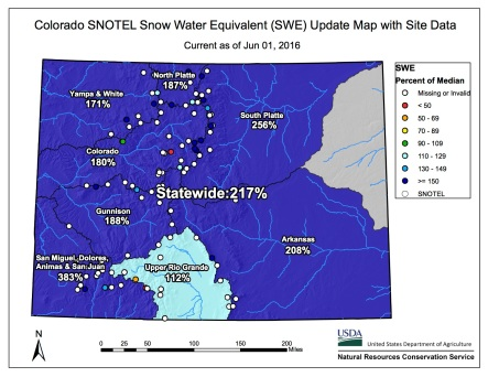 Statewide snowpack map June 1, 2016 via the NRCS.