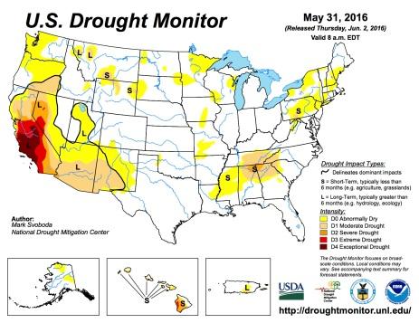 US Drought Monitor May 31, 2016.