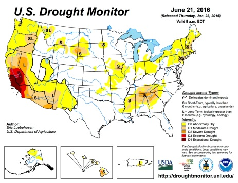 US Drought Monitor June 21, 2016.