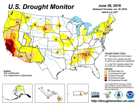 US Drought Monitor June, 28, 2016.