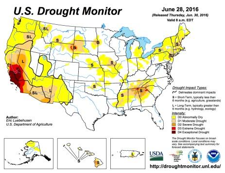 US Drought Monitor June, 28, 2016.