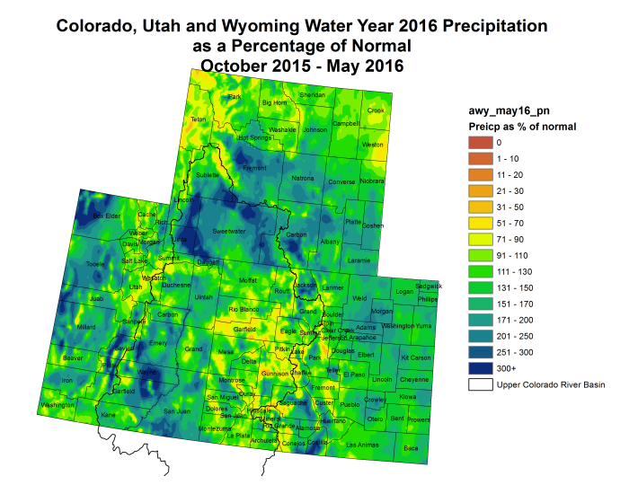 Upper Colorado River Basin Water Year 2016 precipitation as a percent of normal via the Colorado Climate Center.