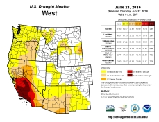 West Drought Monitor June 21, 2016.