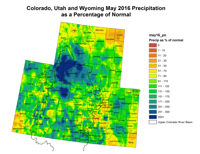 Upper Colorado River Basin May 2016 precipitation as a percent of normal via the Colorado Climate Center.