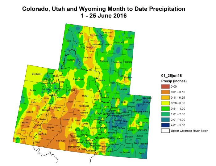 Upper Colorado River Basin month to date precipitation through June 25, 2016 via the Colorado Climate Center.