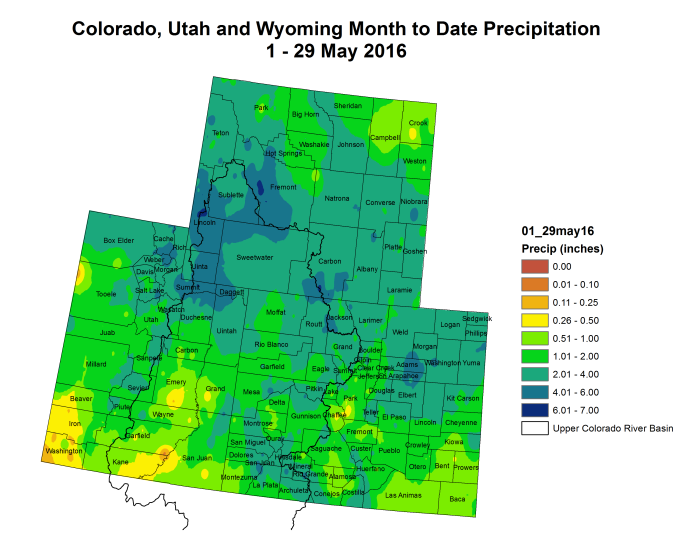 Upper Colorado River Basin month to date precipitation through May 29, 2016 via the Colorado Climate Center.