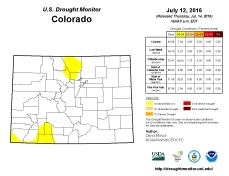 Colorado Drought Monitor July 12, 2016.