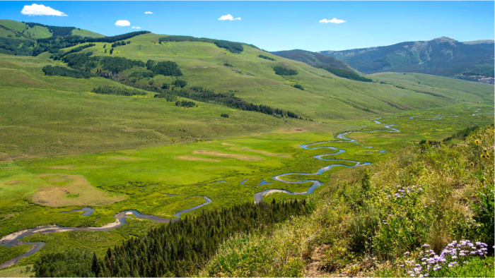 The mountainous headwaters East River catchment, located in the Upper Colorado River Basin, serves as a testbed for the SFA team. Credit Roy Kaltschmidt (2014), Berkeley Lab.