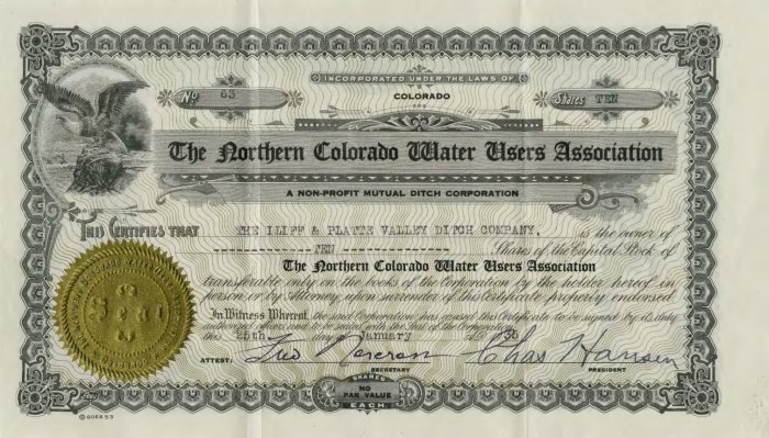 Northern Colorado Water User's Association stock certificates photo via the Colorado Water Institute