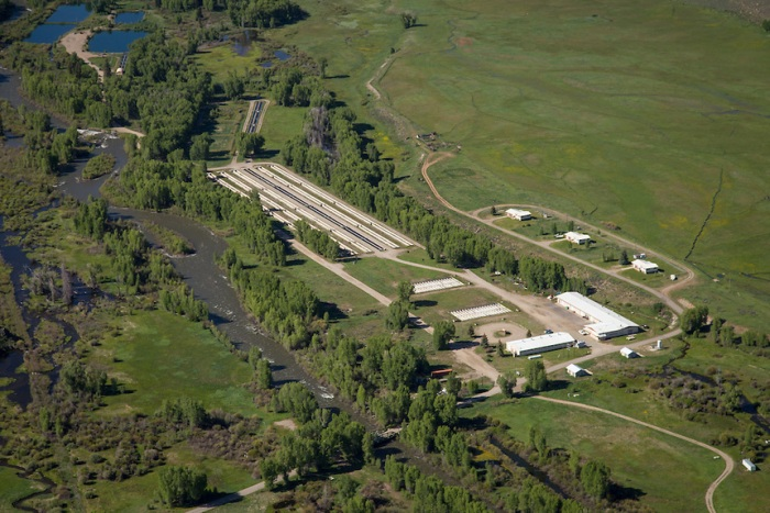 Aerial photograph of Roaring Judy Fish Hatchery. Photo via Western State Colorado University.