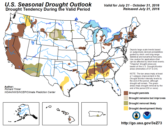 Seasonal drought outlook valid July 21 through October 31, 2016 via the Climate Prediction Center.