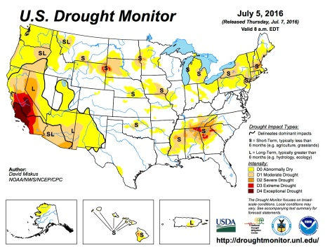 US Drought Monitor July 5, 2016.
