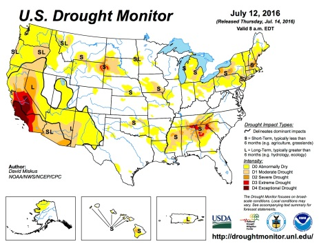 US Drought Monitor July 12, 2016.