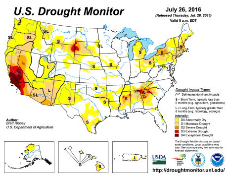 US Drought Monitor July 26, 2016.