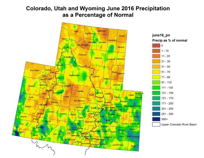Upper Colorado River Basin precipitation as a percent of normal June 2016 via the Colorado Climate Center.