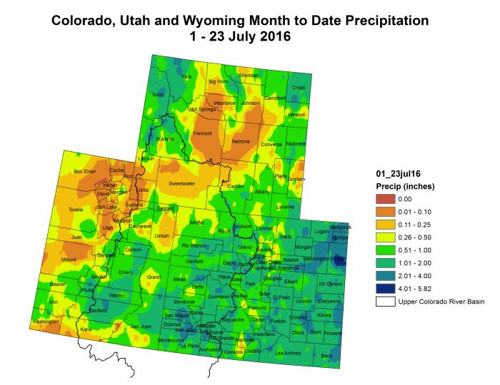 Upper Colorado River Basin month to date precipitation through July 23, 2016 via the Colorado Climate Center.