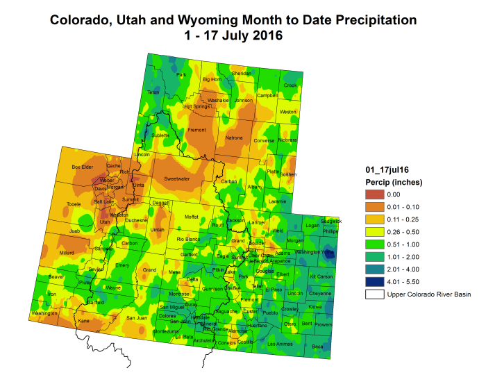 Upper Colorado River Basin month to date precipitation through July 17, 2016.
