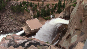 The mid-level jet valve serves as a backup water release and helps fine tune river temperatures below Cheesman Dam.
