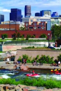 The South Platte River running through Confluence Park in Denver.