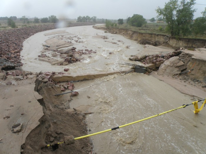 Heavy rains inundate Sand Creek (2013). Photo via the City of Colorado Springs and the Colorado Springs Independent.