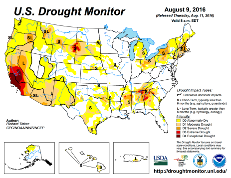 US Drought Monitor August 9, 2016.
