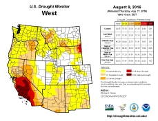 West Drought Monitor August 9, 2016.