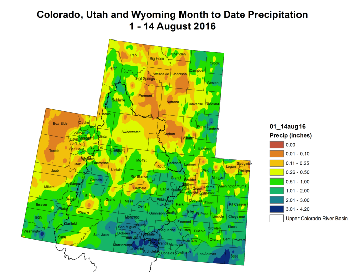 Upper Colorado River Basin month to date precipitation through August 15, 2016.