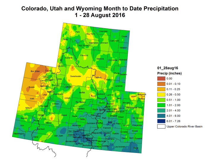 Upper Colorado River Basin month to date precipitation through August 28, 2016.