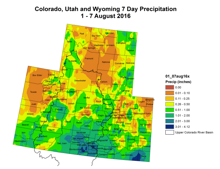 Upper Colorado River Basin month to date precipitation through August, 7, 2016 via the Colorado Climate Center.