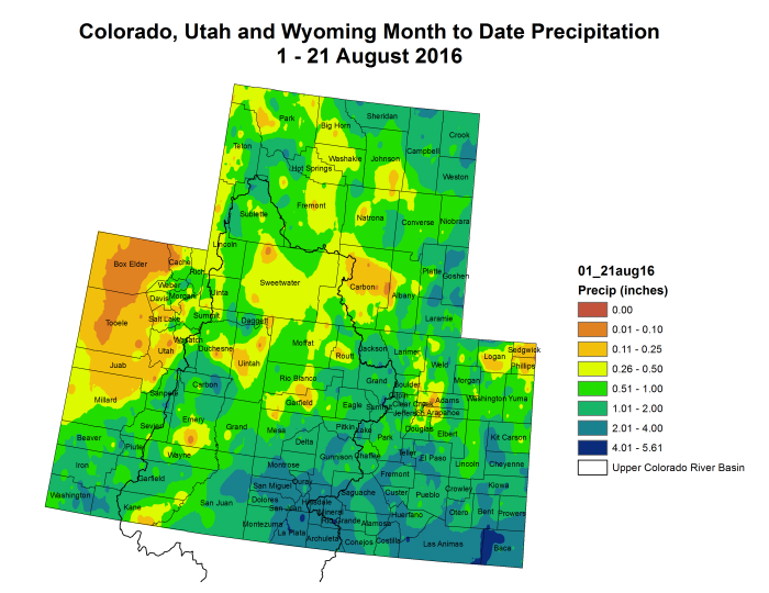 "Upper Colorado River Basin month to date precipitation through August 21, 2016 via the <a href=""http://climate.colostate.edu/~drought/"">Colorado Climate Center</a>."