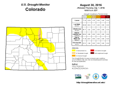 Colorado Drought Monitor August 30, 2016.