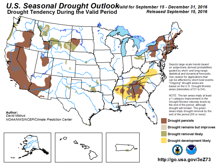 Drought outlook through December 31, 2016 via the Climate Prediction Center.