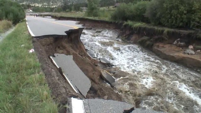 Fish Creek Road after September 2013 floods via YouTube.