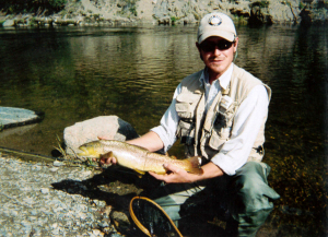 Bypass flows released from Strontia Springs Reservoir located at the top of Waterton Canyon keep the river at optimum levels, sustaining a healthy trout fishery for anglers like the author's brother Jason Kirk, pictured here.