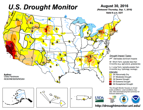 US Drought Monitor August 30, 2016.
