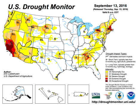 US Drought Monitor September 13, 2016.