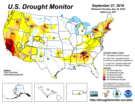US Drought Monitor September 27, 2016.