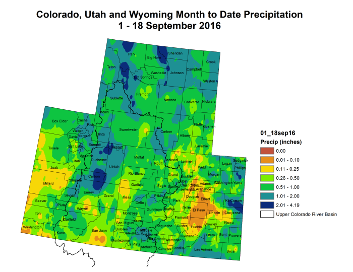 Upper Colorado River Basin precipitation month to date through September 16, 2016 via the Colorado Climate Center.