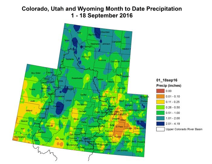 Upper Colorado River Basin precipitation month to date through September 16, 2016 via the Colorado Climate Center.