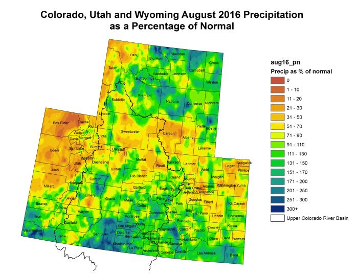 Upper Colorado River Basin August precipitation as a percent of normal via the Colorado Climate Center.