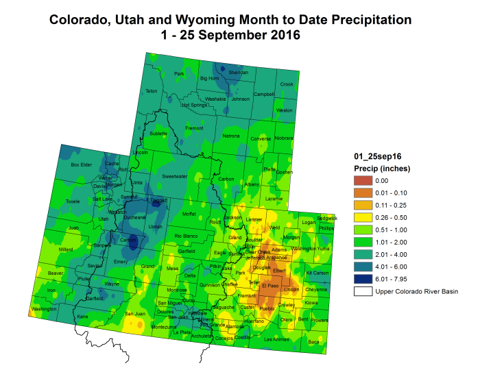 Upper Colorado River Basin month to date precipitation through September 25, 2016.