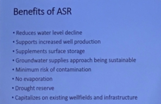 The benefits of Aquifer Storage and Recovery.