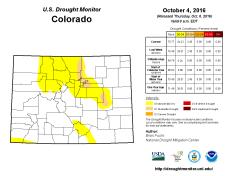 Colorado Drought Monitor October 4, 2016.