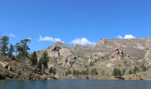 Barely a cloud in the sky at Denver's Cheesman Reservoir. In Colorado, the last few months have been warmer and drier than usual.