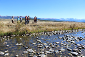 Members of Learning By Doing tour the Fraser Flats on Sept. 27, 2016.
