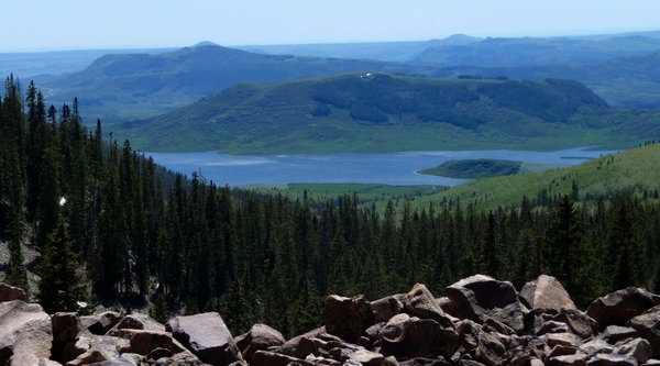 View to southwest, looking down on Groundhog Reservoir. Photo via dcasler.com.